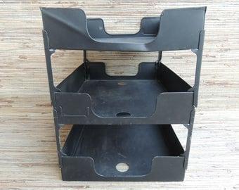 Vintage Industrial Black Metal Office Stacking Letter Trays