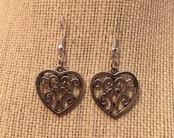 Silver FlowySwirls Heart Earrings