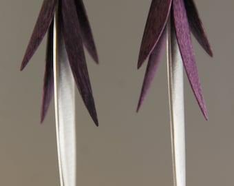 Purple Maple Wood and Aluminum Earrings