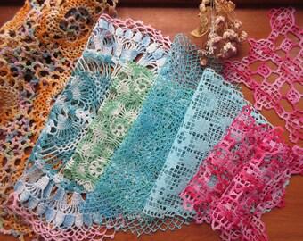 Vintage Doilies,  Crochet Napkins , Table  Linen , Antique Lace Doilies - set of 8.