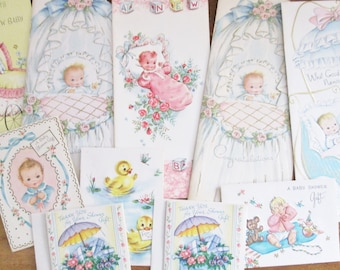 Vintage 1950's Unused Baby Shower Invitations Gift Enclosure Cards and Baby Congratulations Cards Assorted Mix of 10 Cards Sweet Baby Images