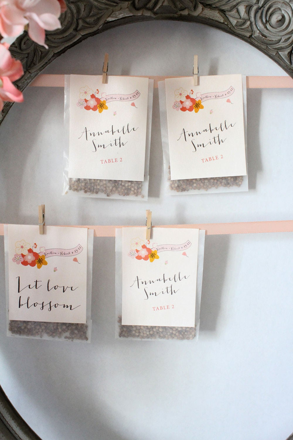 Spring Blossom Floral Wedding Favors Place Card Seat Assignments ...