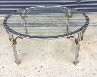 Vintage Round Chrome and Brass Coffee Table, Mid Century Hollywood Regency