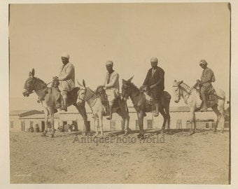 Egypt native men on donkeys antique photo Zangaki