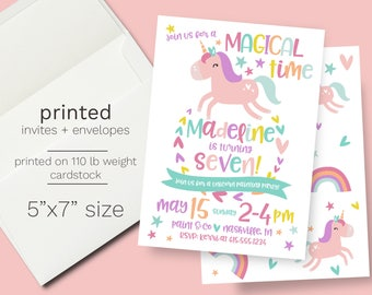 PRINTED Unicorn Birthday Party Invite // Envelopes Incuded Pastel Color Magical Rainbow Birthday Party Whimsical Unicorn