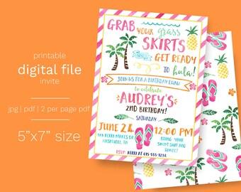 Hawaiian Luau Birthday Invitation DIGITAL FILE  Hula Party Swimming Birthday Digital Invite 5x7 Pineapple Tropical Palm Trees Beach