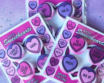 """ANTI-Sweethearts / Anti-Conversation Hearts / Anti-Valentine's Day - 1.25"""" Pinback Buttons, Pack of 4"""