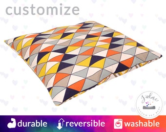 Geometric Pillow Style Dog Bed | Flippable, Washable, Beautiful | Orange, Yellow, Navy, Dimensions