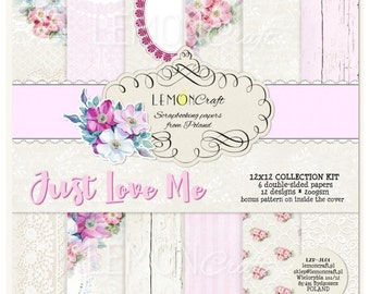 LemonCraft Paper Collection /  Just Love Me / 6 Sheets / 12x12 Scrapbook Paper / Pattern Paper / Scrapbook Kit / Mixed Media / Shabby Chic