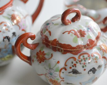 Geisha Girl Tea Set Geisha Ware Porcelain Teapot, Cream and Sugar Bowl Hand Painted