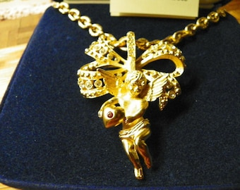 Jackie Kennedy GP Necklace - 24K Cherub Angel Pin/Pendant with Box and Certificate