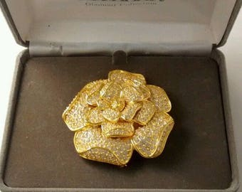 Nolan Miller Brooch - Pave Crystal Rose Pin           - S2063a