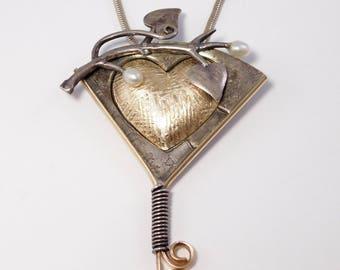 Modernist Mixed Metals Sterling Artisan Necklace J.P. Reardon