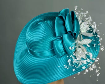Turquoise Derby Hat Woman Bridal Wedding Hat Church Kentucky Derby Hat Bridal Coctail Hat Couture Fascinator  Bridal Hat