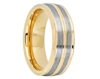 Gunmetal 18K Yellow Gold Tungsten Wedding Band,Tungsten Wedding Ring,Anniversary Band,Brushed Tungsten Wedding Ring,Custom Tungsten Band