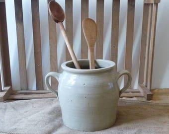 Antique Kitchen Utensils Holder Utensil Crock Wooden Spoon and Spatula Antique Stoneware Kitchen Holder Kitchen Decor