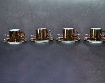 4 Sets Vintage FITZ and FLOYD White Porcelain and Gold Demitasse Cups and Saucers