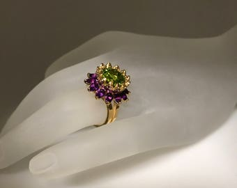 peridot & amethyst gorgeous ring