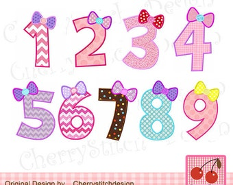 """Birthday Numbers set Machine Embroidery Applique for girls  -4x4 5x5 6x6"""""""
