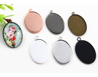 18x25mm High Quality 6 Colors Plated Copper Oval Tooth Cabochon Base Cameo Settings Cabochon Cameo Base