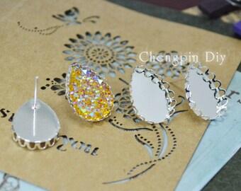 Bezel Cabochons Earring Kits-13x18mm Bronze/Shiny Silver Teardrop Earring Studs - Lace Earring Blanks - 13x18mm Tear Drop Glass Cabochon