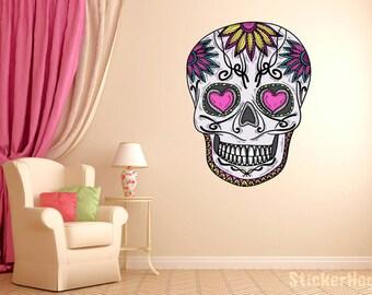"Mexican Sugar Skull Daisy Wall Decal dia de los muertos Art Vinyl Wall Decal Graphics 22""x16.5"" Home Decor 04"