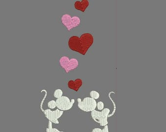 Mickey Kiss Flowy Machine Embroidery Designs, Top - Tank - Shirt - Instant Download Filled Stitches Design 120