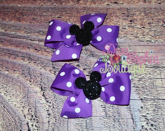 Minnie Mouse Hair Bow Set of 2 - Purple
