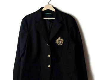 Ralph Lauren Black Tailored Cotton Jacket /Blazer with Crest*