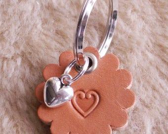 "Handmade Leather key chain ""Heart"""