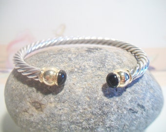 Two Tone Twisted Design Cuff Bracelet Black Enamel Costume Jewelry
