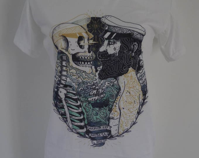 Women's Skeleton and Sailor Vintage Tattoo T-Shirt - UK 12 14 16 - Skull Horror Anchor Alternative