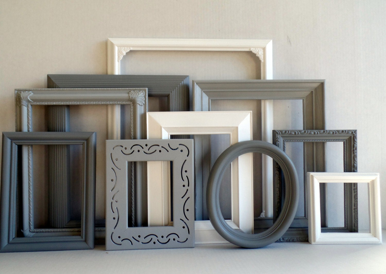 Gallery Wall Frame Set gray grey and white frame set - custom picture frames - vintage