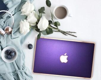 Platinum Edition Metallic Purple with w/Rose Gold Edge Hybrid Hard Case for Apple Mac Air & Mac Retina , New Macbook 2016