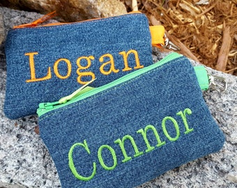 Denim Coin Purse, Personalized Zipper Wallet, Denim Pouch with Name