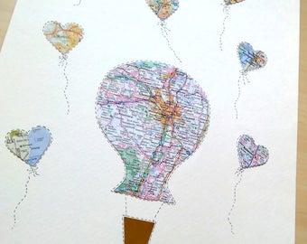Anniversary Gift Map Art - Hot Air Balloon Art - Wedding Gift - Design #67