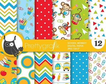 80% OFF SALE School monkey digital paper, commercial use, back to school scrapbook papers, background chevron, stripes - PS812