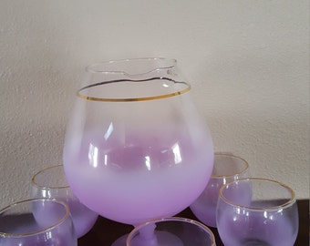 Vintage Purple Frosted  Decanter Set With Pitcher And 5 Glasses