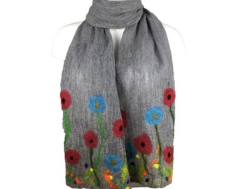 Long grey nuno felted scarf with floral decoration, merino wool on silk