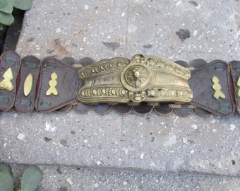 Vintage Leather Belt with Gold tone metal Tibet Lion Heavy Funky