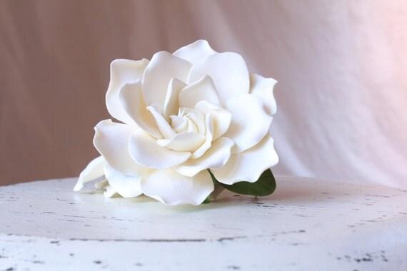 Light ivory Gardenia set of 2 Gardenia hair flower. Hair clip polymer clay flower for wedding.  Ivory Gardenia on alligator clip.