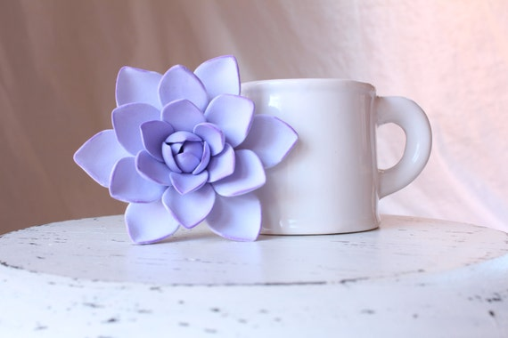 Succulent  Brooch. lilac or green.  Polymer clay flower.