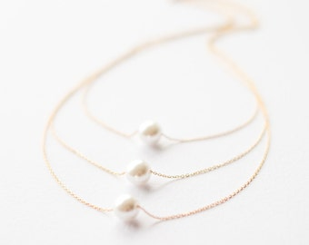 Gold Pearl Necklace, Triple Layered Necklace, Gifts for Her, Dainty Necklace