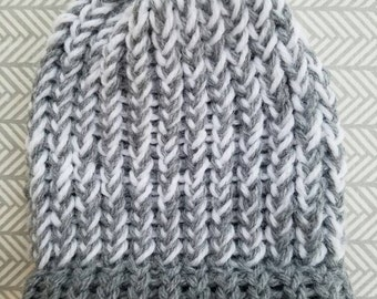 COMFY COZY Newborn Beanie in Grey and White