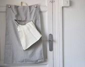 Bolsa de Lavandería de Algodón a Rayas. Para colgar en la pared y recoger la ropa para lavar