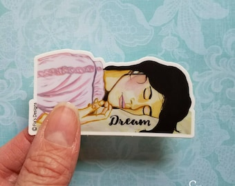 """Vinyl Art Sticker of inspirational """"Dream"""" printed from whimsical drawing of woman sleeping. Decal for Scrapbook, Planner, Laptop, Journal"""