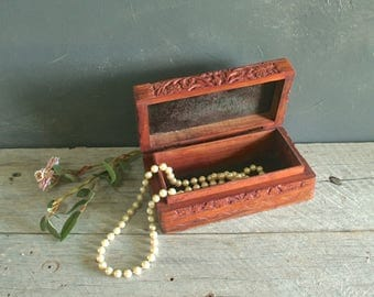 Beautiful Vintage Hand Carved Rosewood Jewelry Box From India, Cigarette Box, Trinket Box, Boho, Hipster