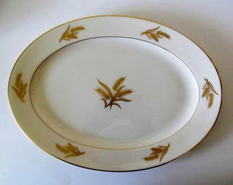 Lenox Harvest R-441 Serving Platter, Gold Wheat, Fine China