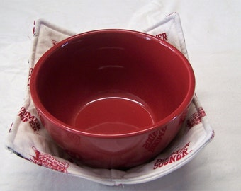 Oklahoma University College/Football/Boomer Sooners microwave bowl holders/cozy/pot holder/utensil.