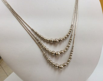 Vintage Handmade 925 Sterling Silver Three String Necklace With Beads!!!